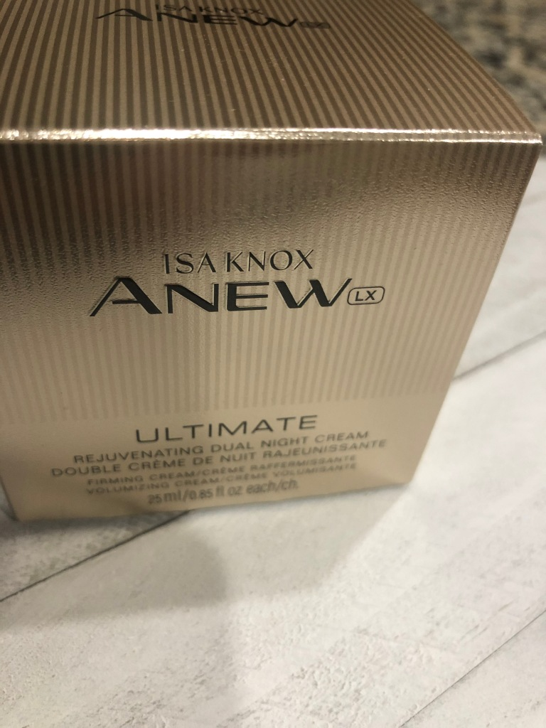 Avon's Isa Knox Anew LX Ultimate Rejuvenating Dual Night Cream in its box.