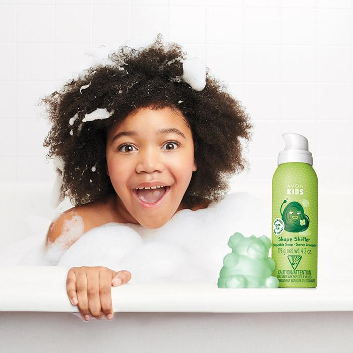 Girl using Avon Kids Shape Shifter Shapeable Soap