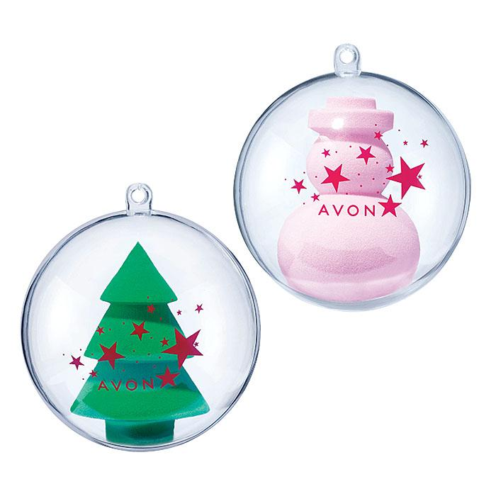 Makeup Applicator Ornament - tree and snowman