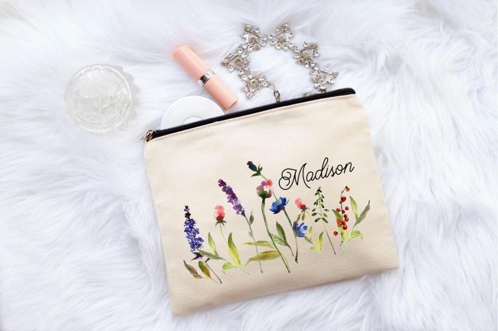 Personalized Flower Makeup Bag