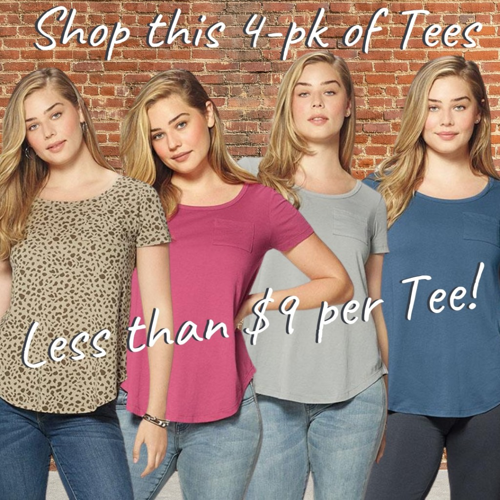 Fashion 4-pack of tees at Avon.