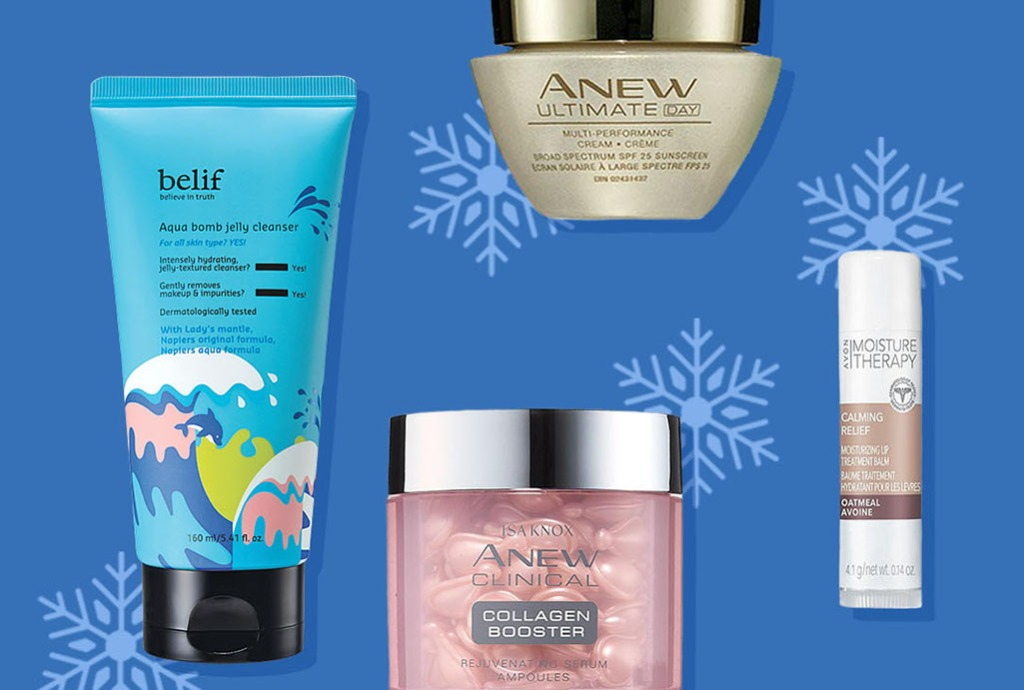 Winter skin care routine products from Avon