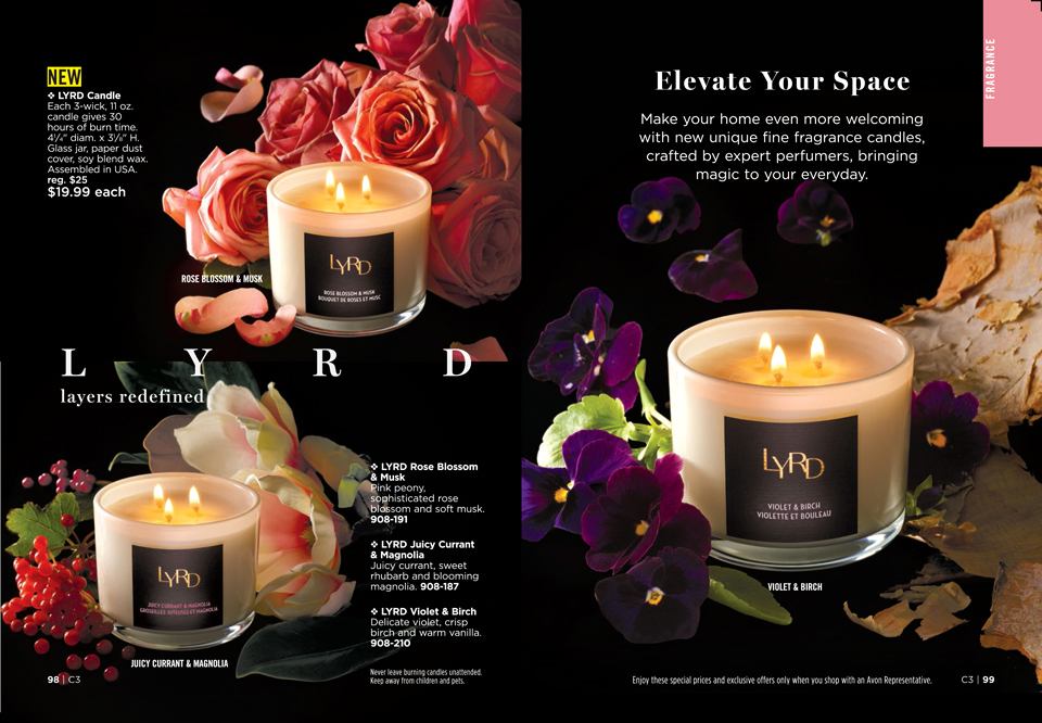 Avon catalog image of their new LYRD candles
