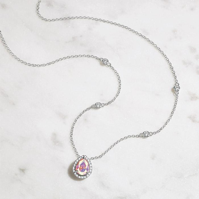 Sterling Silver Opulent CZ Halo Teardrop Necklace at Avon