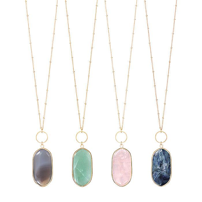 Healing Stone Pendant Necklaces   (pink) rose quartz, (blue) sodalite, (green) aventurine and (gray) grey agate.