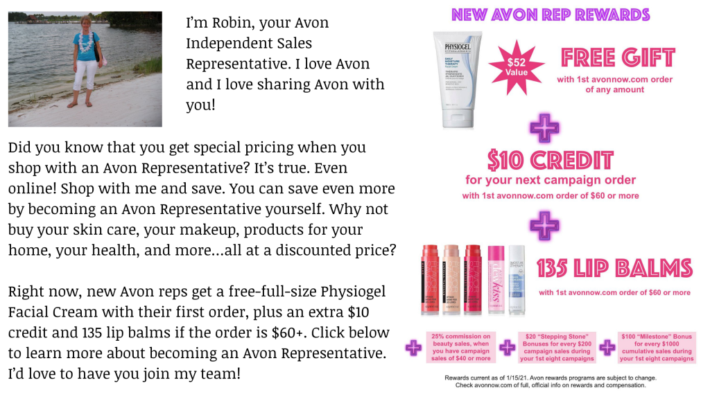 learn about becoming an Avon representative.