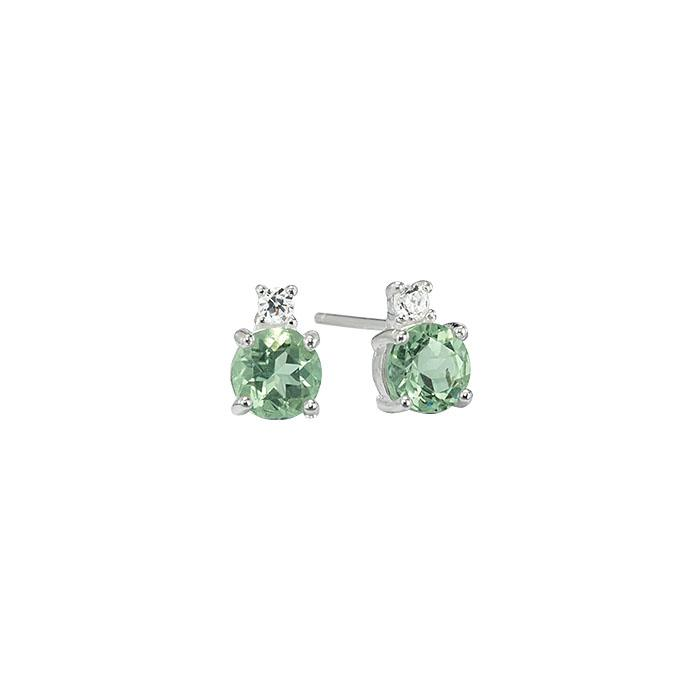 Sterling Silver Green Amethyst Stud Earrings