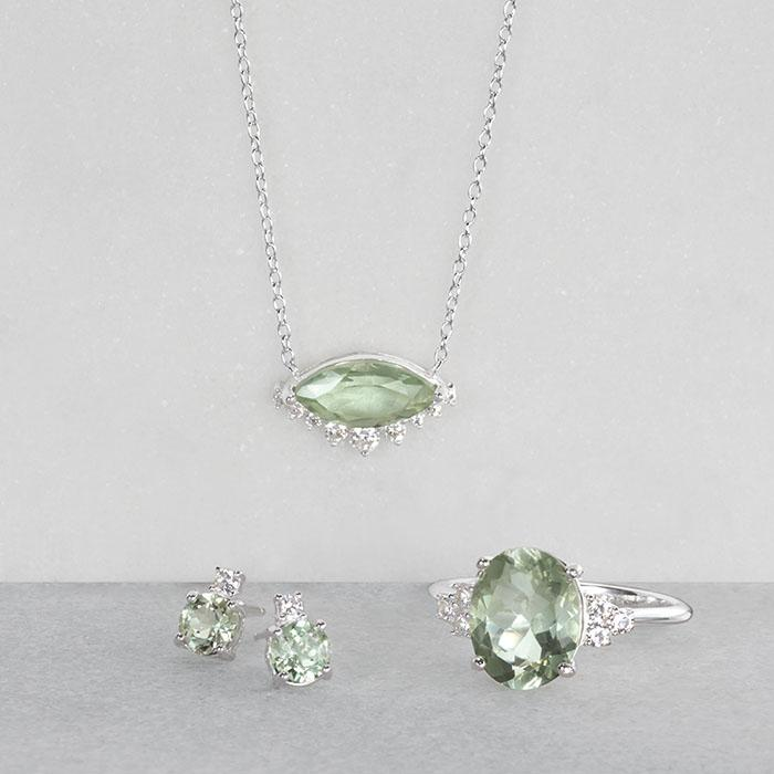 Sterling silver and green Amethyst jewelry at Avon