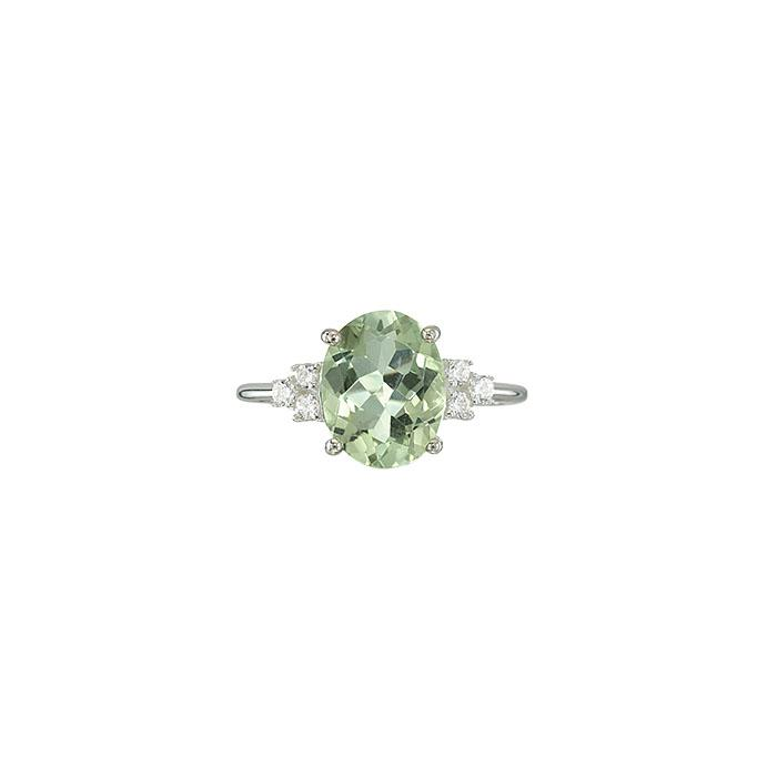 Sterling Silver Green Amethyst Statement Ring