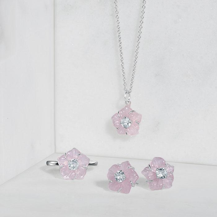 Sterling silver and rose quartz jewelry from Avon.