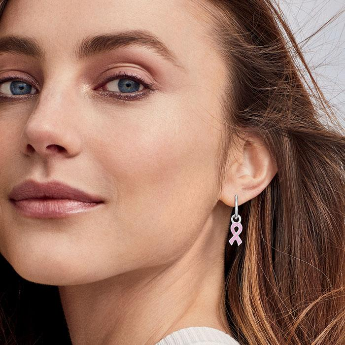 Breast cancer symbol earrings from Avon.