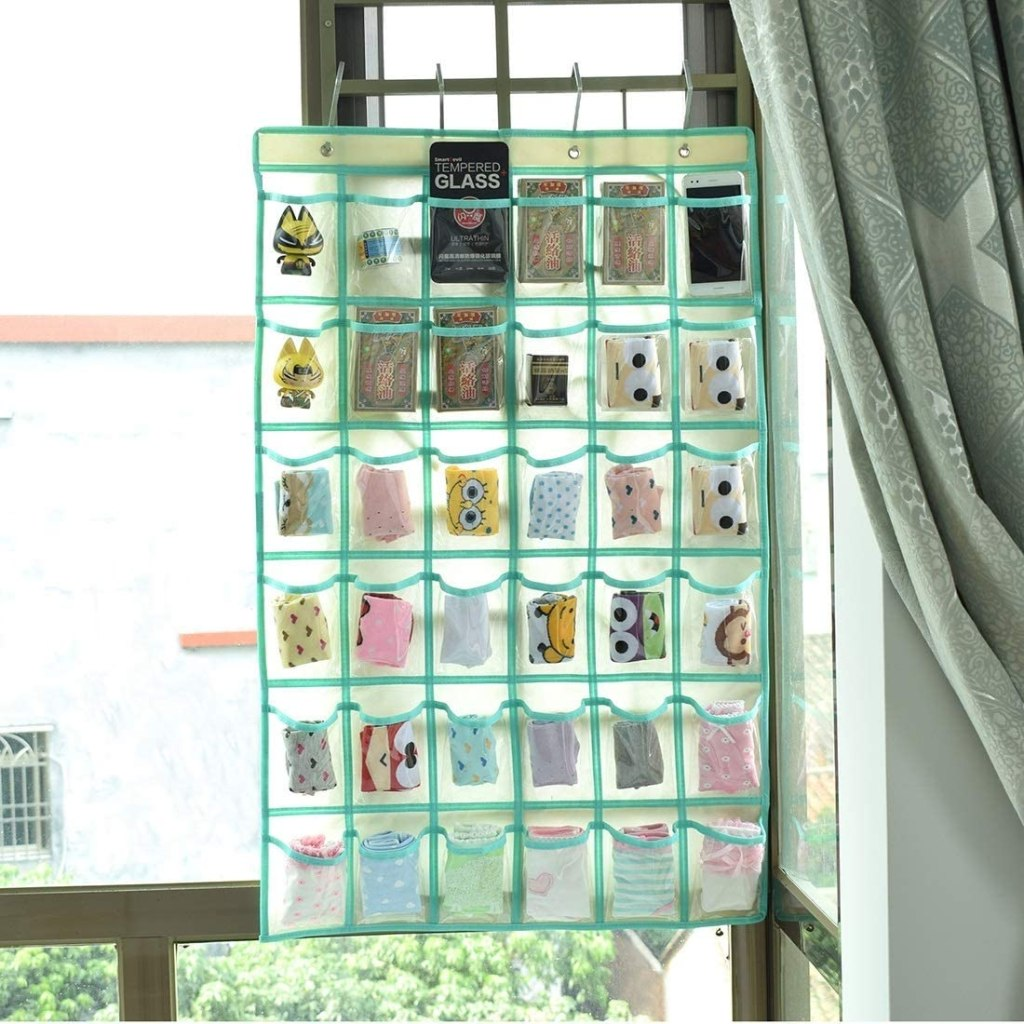 Hanging Closet Underwear Sock Jewelry Storage Over The Door Classroom Cell Phone Calculator Organizer 36 Clear Pockets  sample holder