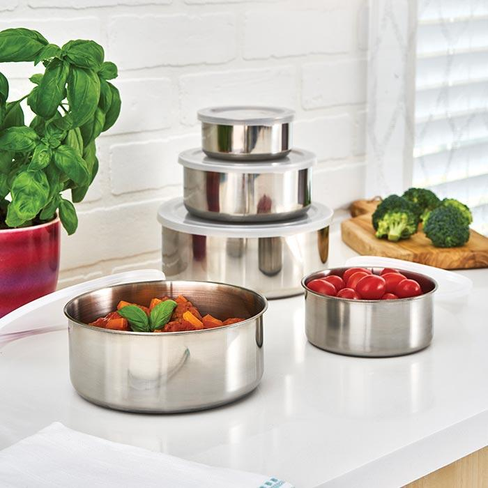 Stainless Steel Storage Bowls Set of 5